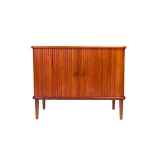 Vintage 1960's Danish Mid-Century Media Cabinet W/ Tamboure Doors For Sale