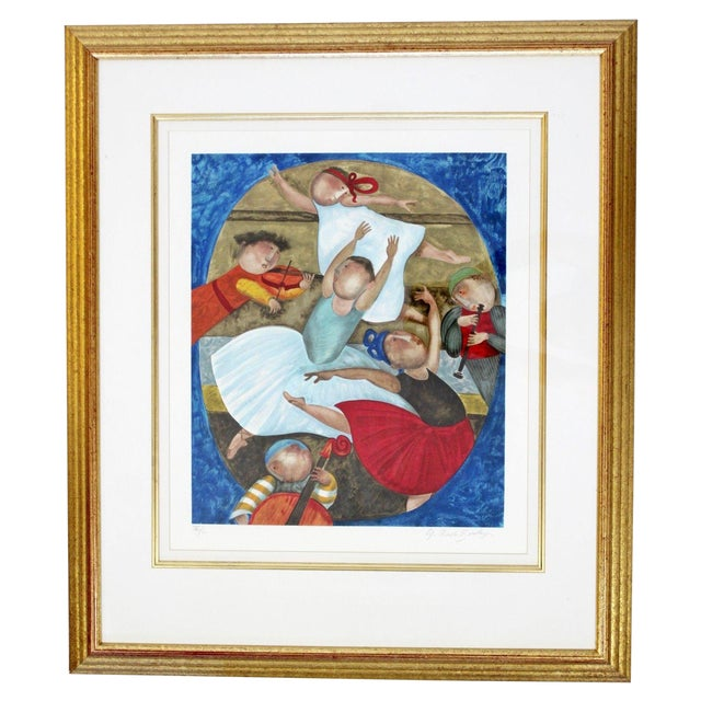Mid-Century Modern Gold Gilt Framed Lithograph Signed by Graciela Boulanger For Sale