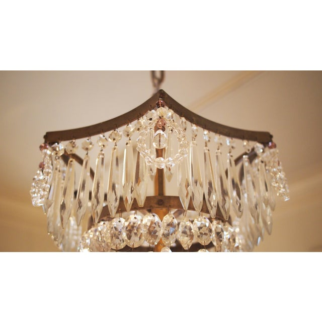 Italian Basket Form Eight Light Crystal Chandelier For Sale In New Orleans - Image 6 of 9