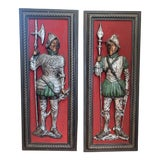 Image of Vintage Medieval Knight Wall Sculptures - a Pair For Sale