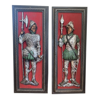 Vintage Medieval Knight Wall Sculptures - a Pair For Sale