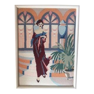 Art Deco Lady Framed Needlepoint Textile Art For Sale