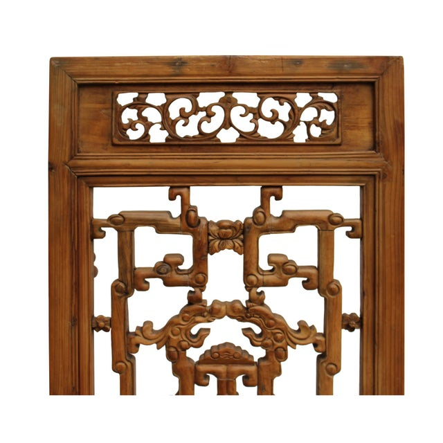 Brown Chinese Vintage Light Brown Relief Motif Wood Wall Hanging Art For Sale - Image 8 of 11