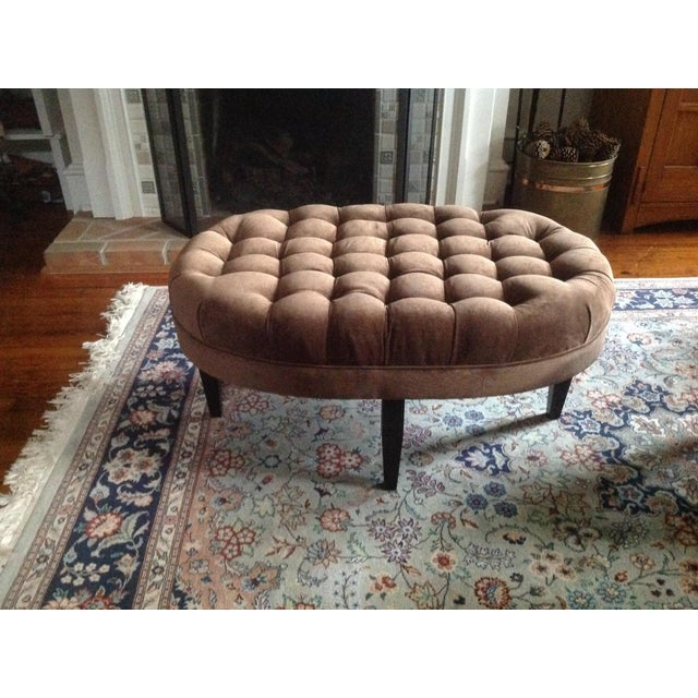 Contemporary Tufted Oval Ottoman - Image 3 of 5