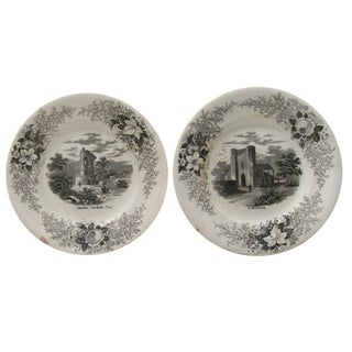 French Black & White Transferware Plates - A Pair
