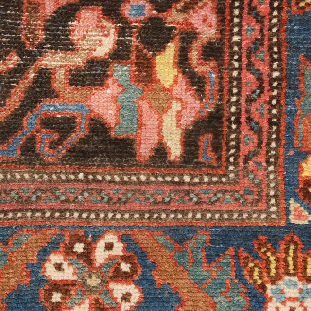 """2010s Vintage Bidjar Brown and Pink Wool Runner Rug With Blue Accents - 2'7"""" x 7'8'"""" For Sale - Image 5 of 7"""
