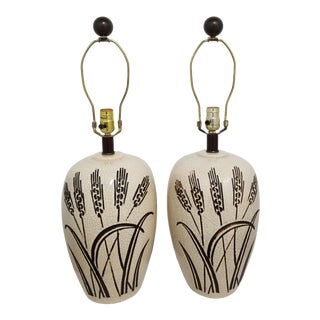 Mid Century Phil Mar Crackle Glaze Wheat Sheaf Ginger Jar Ceramic Table Lamps - a Pair For Sale