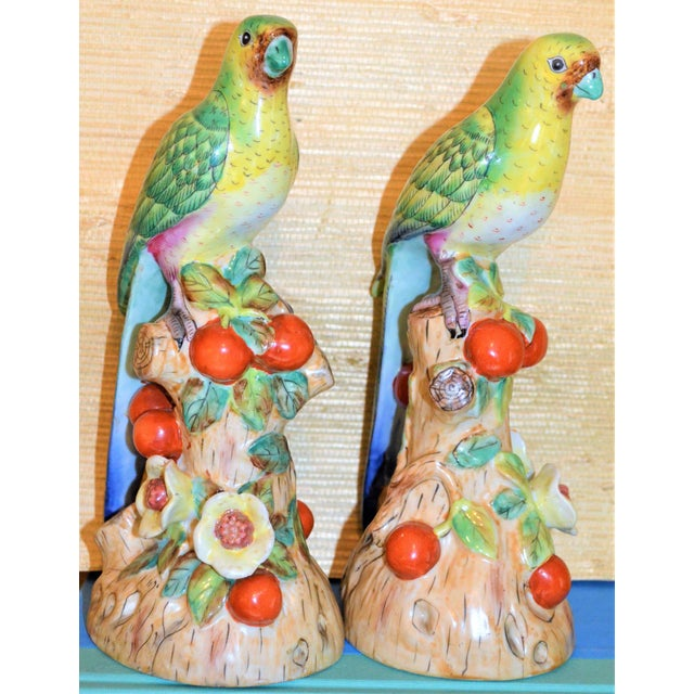 Asian 1980s Vintage Green Majolica Parakeets Figurines - a Pair For Sale - Image 3 of 8