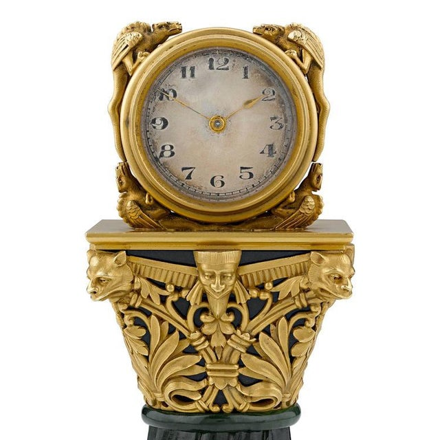 Art Nouveau Paul Frey Miniature 18-Karat Gold and Jade Clock For Sale - Image 3 of 7
