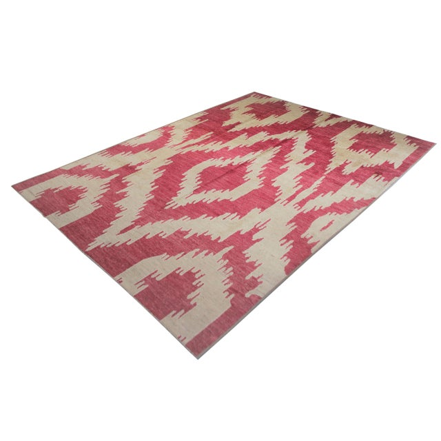 Beautiful handmade Ikat rug. Woven in by Aara Rug hands. This rug is made of 75% wool and 25% cotton. This piece with it's...