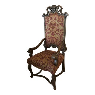 Old World Italian-Style Custom Arm Chairs by Erwin Lambeth Tomlinson For Sale