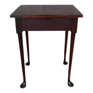 "Custom Mahogany Club Foot Accent Table 20""w X 27""h For Sale"