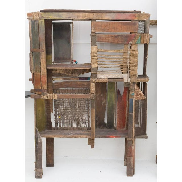 Screen or Room Divider by Indian Artist R. Mohanta. One of a kind Multi Media Art piece created from weathered or found...
