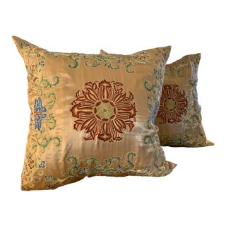 Hand Embroidered Gold Pillows - a Pair For Sale