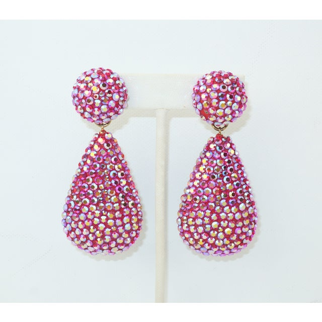 1980s 1980's Richard Kerr Hot Pink Pave Crystal Teardrop Earrings For Sale - Image 5 of 11