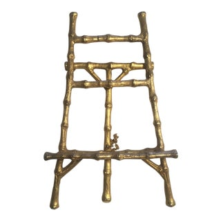 Vintage Brass Gold Metal Bamboo Chinoiserie Picture Stand Easel For Sale