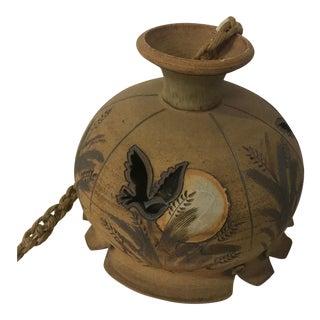 Vintage Handmade Stoneware Hanging Pendant For Sale