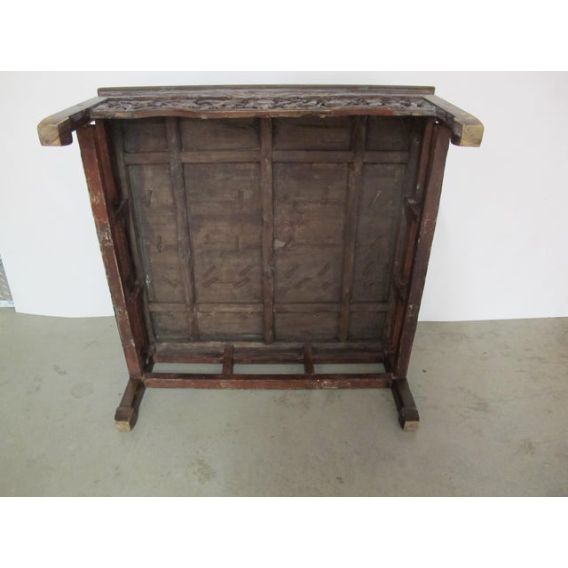 Brown Antique Asian Chinese Solid Wood Coffee Tea Table For Sale - Image 8 of 11