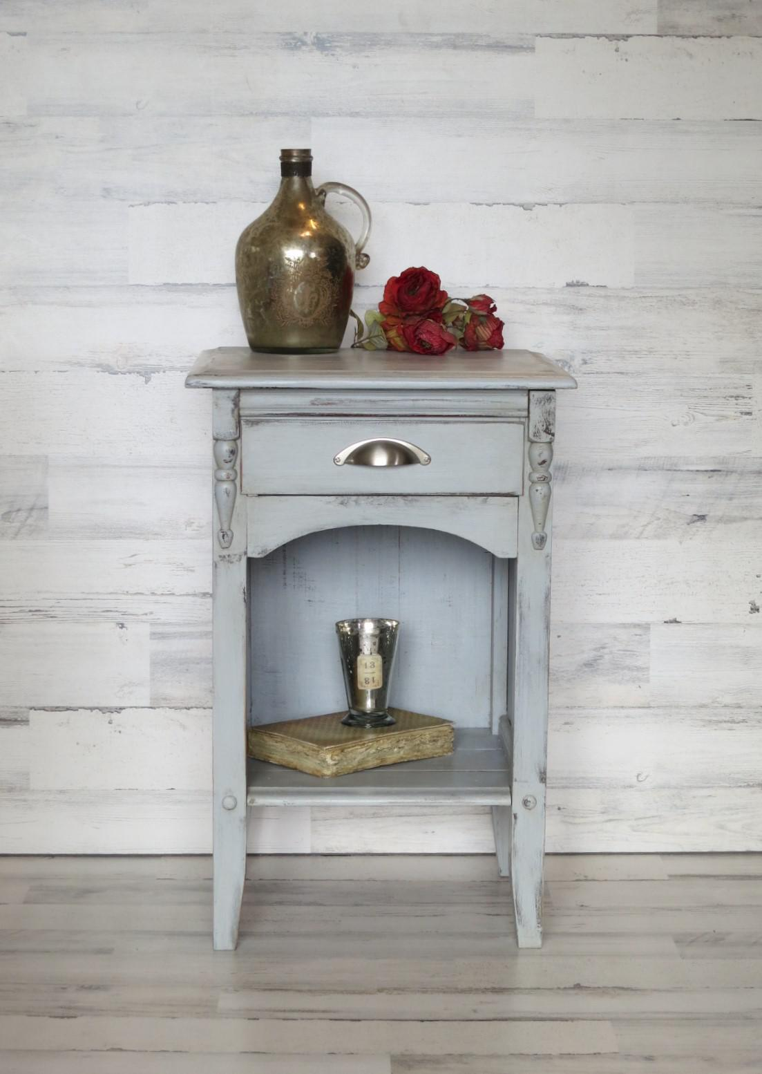 1940s French Farmhouse Gray Nightstand