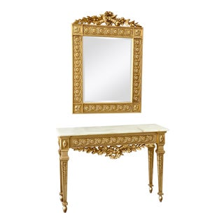 Antique Italian Gold Gilded Rococo MIrror + Foyer Console - 2 Pieces For Sale