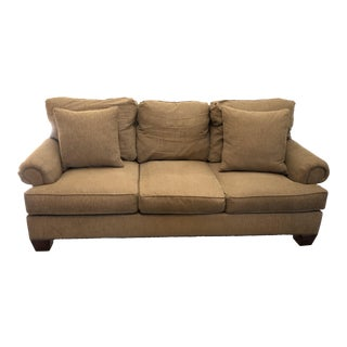Henredon Fireside Brown Upholstered Sofa For Sale