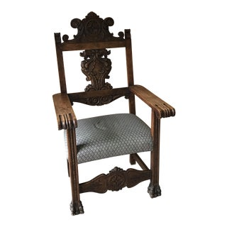 Spanish Carved Chair With Fortuny Fabric