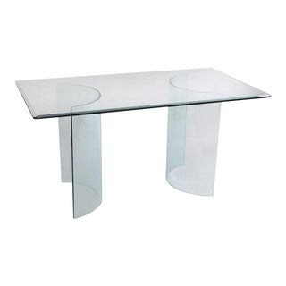 """54"""" Contemporary All Glass Dining Table Desk Console Curved C Shape Arch Bases"""