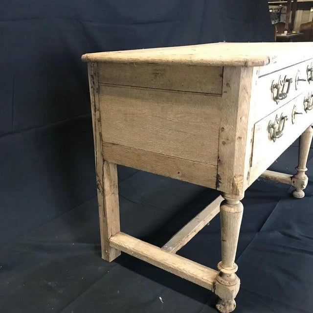 French Rustic Naturally Distressed Two Drawer Console Table Commode For Sale In Portland, ME - Image 6 of 12
