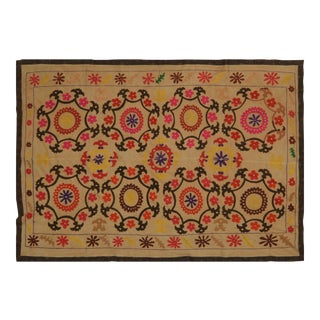Uzbek Suzani Light Yellow Floral Medallions Textile - 5'6″x7'7″ For Sale