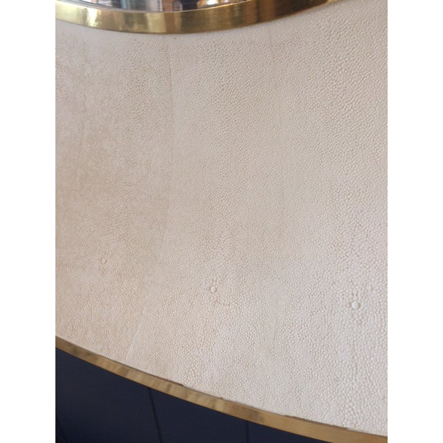 Large Modern Round Shagreen-Style Mirror For Sale - Image 4 of 13