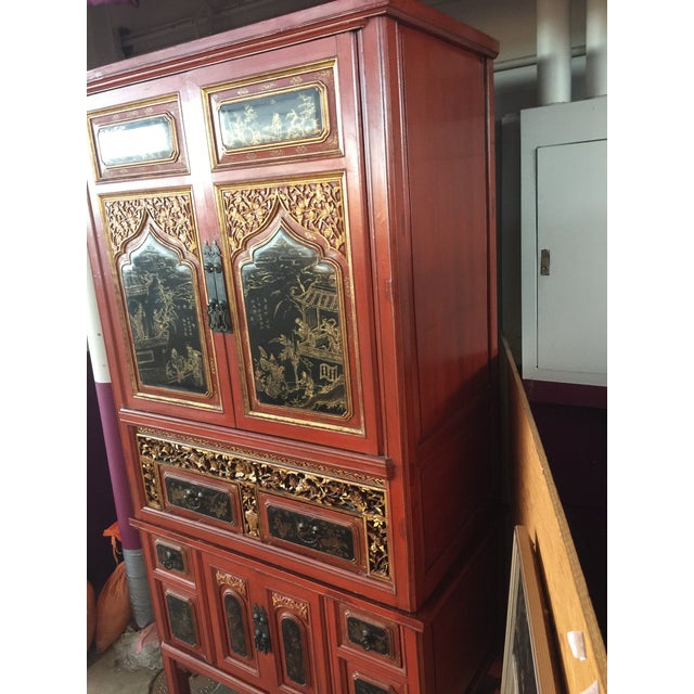 Red Antique Carved Asian Red Lacquer Cabinet For Sale - Image 8 of 11