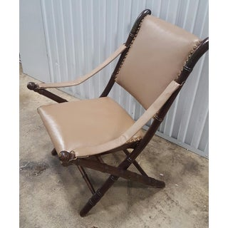 Tan Leather Folding Campaign Chair Preview