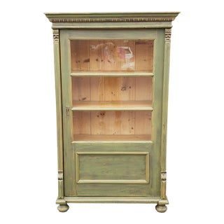 20th Century Primitive Rustic Pine Green Painted Glass Door Cabinet For Sale