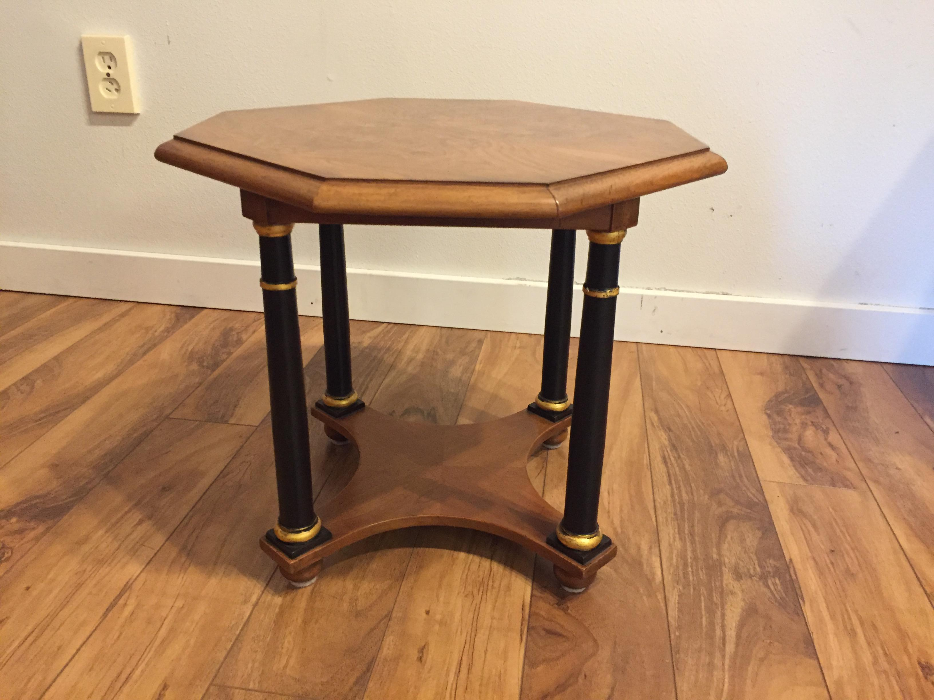 Baker Furniture Company Baker Furniture Octagonal Side Table With Burl Top  And Black Columns With Gold