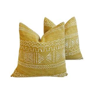 """Custom Gold & Cream Mali Tribal Mud Cloth Feather/Down Pillows 22""""- Pair"""