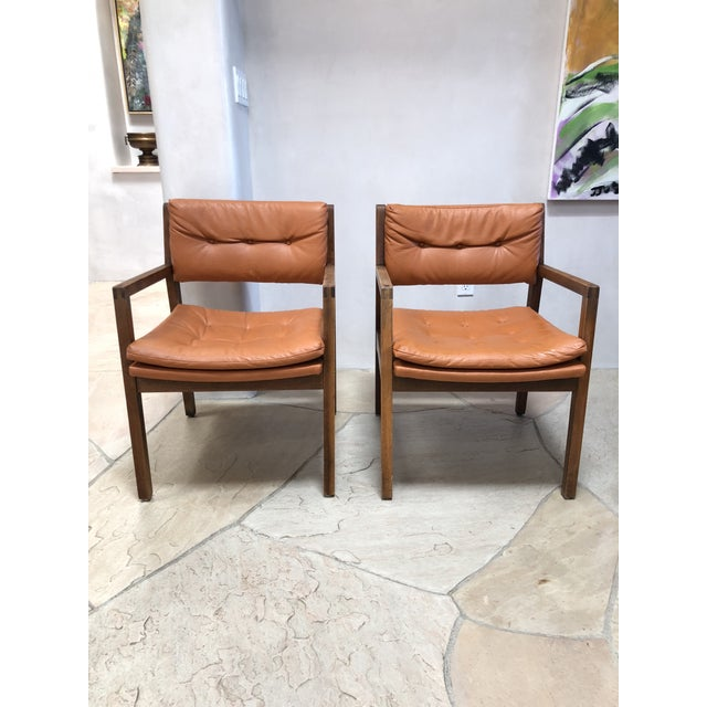 Mid Century Modern Leather Chairs- a Pair For Sale - Image 9 of 9