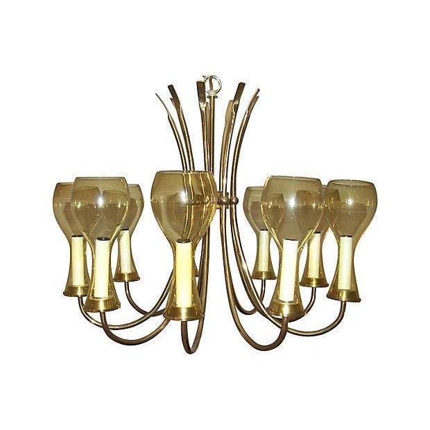 Scandinavian Style Brass & Amber Glass Chandelier | Chairish