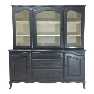 French Provincial Navy Blue & White China Cabinet