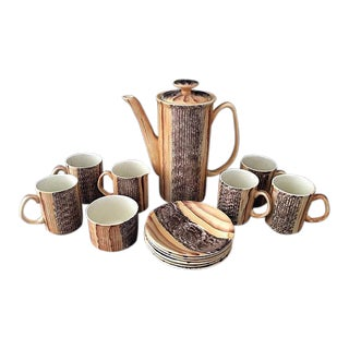 English Mid-Century Modern Brown Wood Pattern Tea Set Saucer Pitcher Set - 15pc