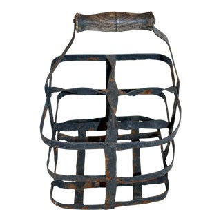 Vintage French 4 Bottle Wine Carrier For Sale