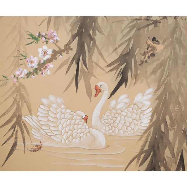 1940s C. 1940s Chinoiserie Swan Screen For Sale - Image 5 of 13