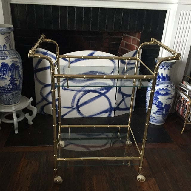 Hollywood Regency Brass Faux Bamboo & Glass Rolling Bar Cart - Image 3 of 11