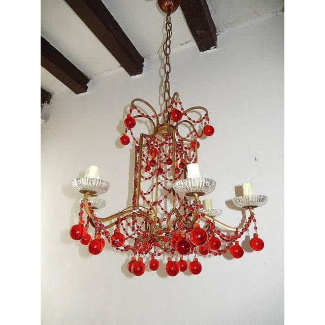 French Red Murano Ball and Chains Chandelier, circa 1940 For Sale - Image 11 of 11