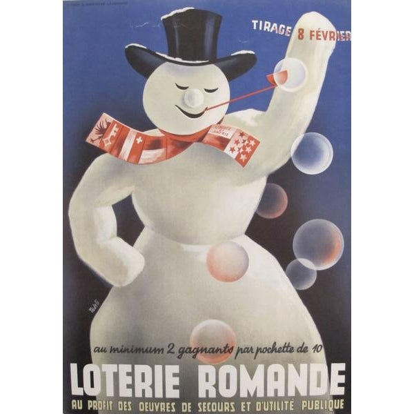 1940s Original Swiss French Poster - Loterie Romande For Sale - Image 4 of 4