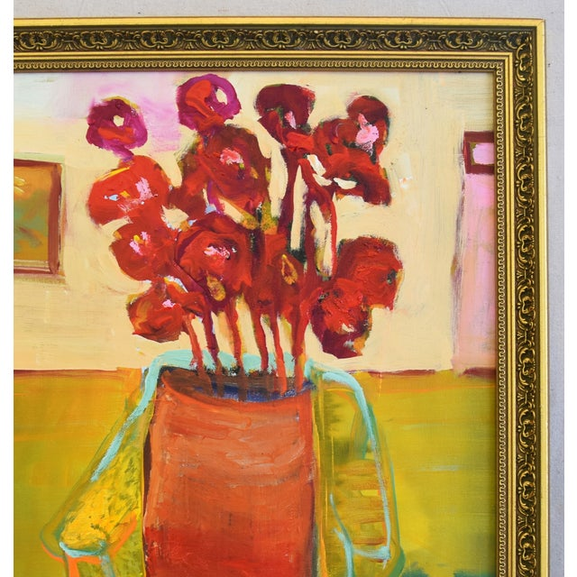 Original Juan Pepe Guzman Floral W/Red Flowers Oil Painting For Sale - Image 4 of 10