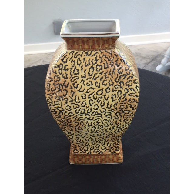 1970s Mid Century Scalamandre-Style Animal Print Vase For Sale - Image 5 of 7