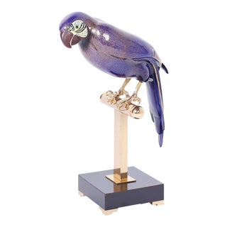 Enamel and Brass Parrot on a Stand For Sale