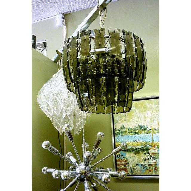 Metal Fontana Arte Smoked Glass Chandelier For Sale - Image 7 of 7