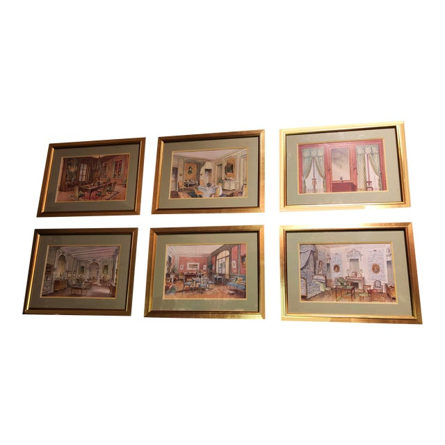 Antique French Interiors Decor Prints - Set of Six For Sale