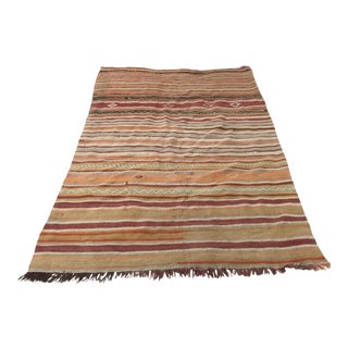 Handmade Nomadic Tribal Kilim Rug- 4′3″ × 6′6″ For Sale